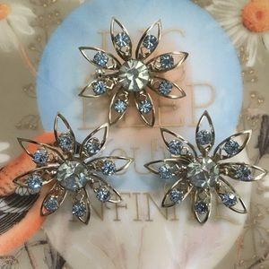 VTG Set of Three Floral Blue Rhinestone Brooches